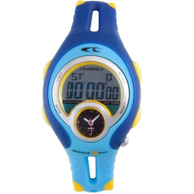 Chronotech Men's Digital Blue and Yellow Plastic Watch