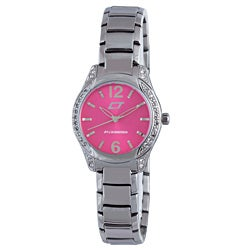 Chronotech Women's Hot Pink Dial Crystal Bezel Stainless Steel Watch