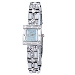 Chronotech Women's Blue Mother of Pearl Dial Stainless Steel and Crystal Watch