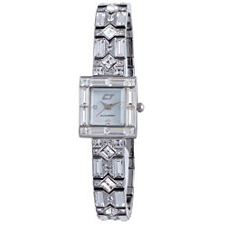Chronotech Woman's White Mother of Pearl Dial Stainless Steel and Crystal Watch