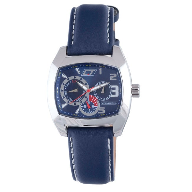 Chronotech Men's Blue Dial Blue Leather Watch