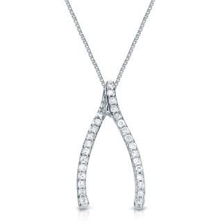 Auriya 14k Gold 1/8ct TDW Diamond Wishbone Necklace