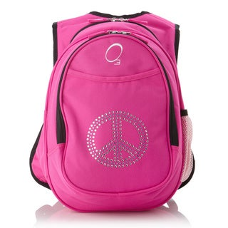 Obersee Kids Pre-School All-In-One Bling Rhinestone Peace Backpack With Cooler