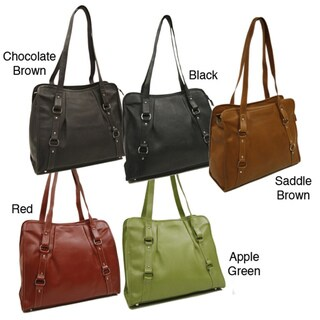 Piel Leather Women's Vertical Belted Business Tote