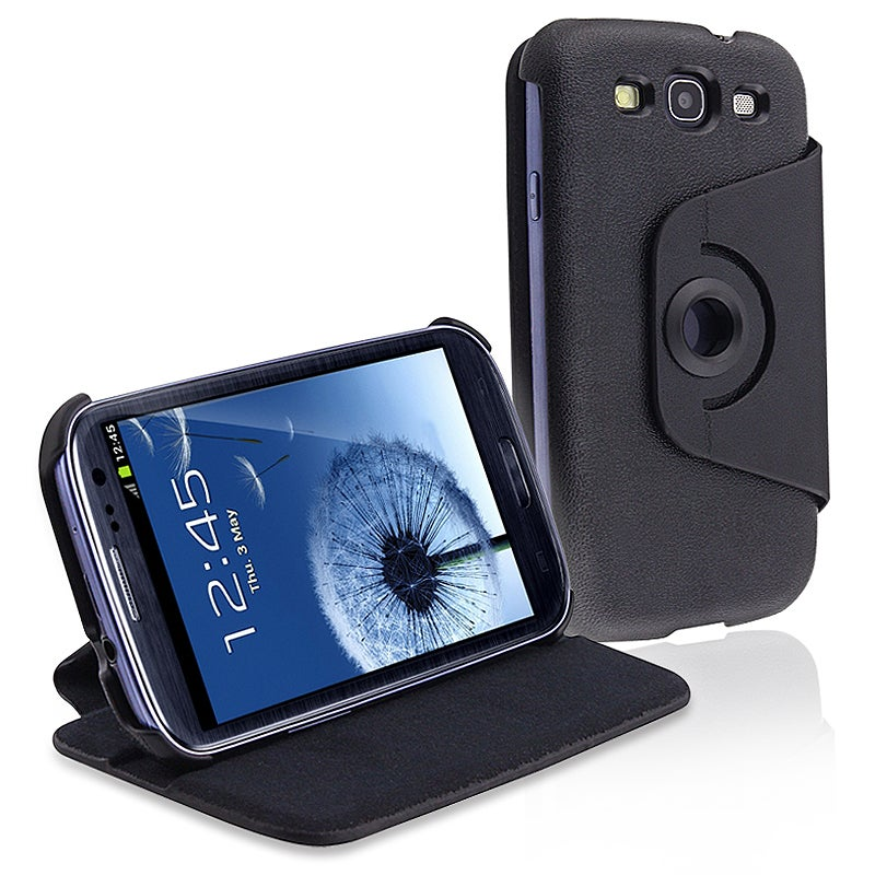 INSTEN Black Leather Flip Phone Case Cover for Samsung Galaxy S III i9300