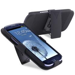 INSTEN Black Holster with Stand for Samsung Galaxy S III i9300