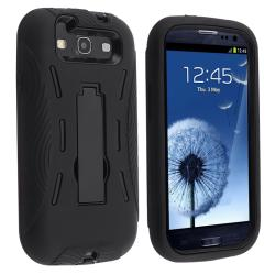 Black/ Black Hybrid Case with Stand for Samsung Galaxy S III i9300