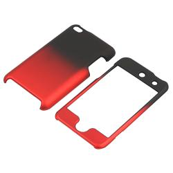 Black to Red Rubber Coated Case for Apple iPod Touch Generation 4