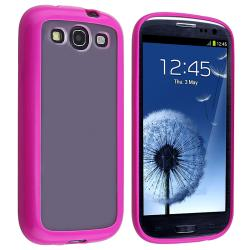 Hot Pink Trim TPU Case with Stand for Samsung Galaxy S III i9300
