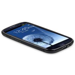 Black TPU Rubber Skin Case with Stand for Samsung Galaxy S III i9300