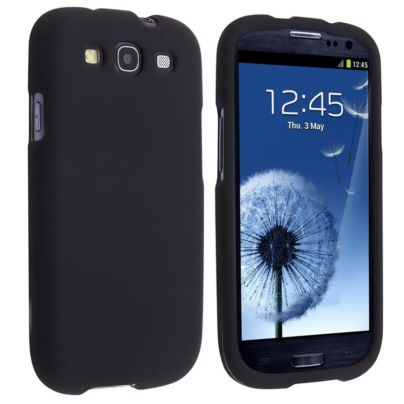 INSTEN Black Snap-on Rubber Coated Phone Case Cover for Samsung Galaxy S III i9300