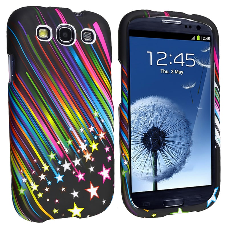 INSTEN Rainbow Star Snap-on Rubber Coated Phone Case Cover for Samsung Galaxy S III i9300