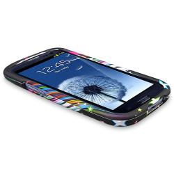 Rainbow Star Snap-on Rubber Coated Case for Samsung Galaxy S III i9300