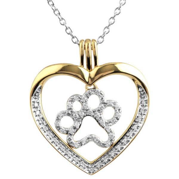 ASPCA Tender Voices 10k Gold 1/4ct TDW Diamond Heart Paw Necklace