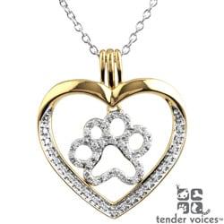 ASPCA Tender Voices 10k Gold 1/4ct TDW Diamond Heart Paw Necklace