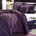 Horizon Plum Embroidered 12-piece Bed in a Bag with Sheet Set