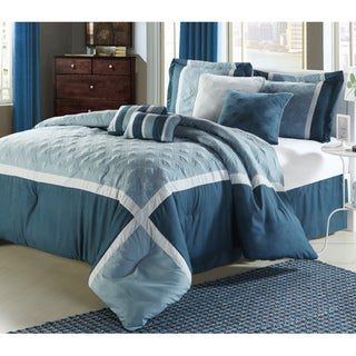Quincy Blue 12-piece Bed in a Bag with Sheet Set