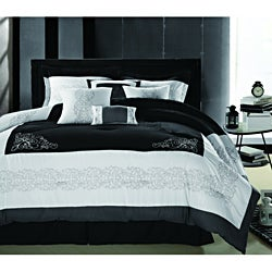 Florence Black/White Embroidered 12-piece Bed in a Bag with Sheet Set