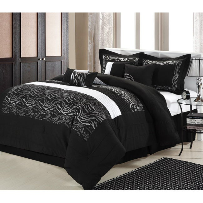 Black Zebra 12-piece Bed In a Bag wtih Sheet Set