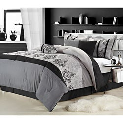 Renaissance 12-piece Grey Bed In a Bag with Sheet Set