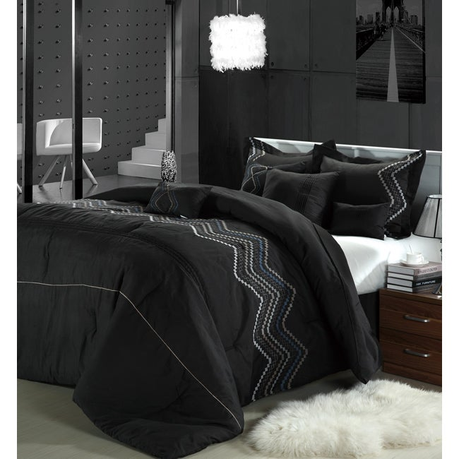 Horizon Black 12-piece Bed in a Bag with Sheet Set