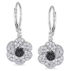 Miadora Sterling Silver Created Sapphire and Black Diamond Flower Earrings