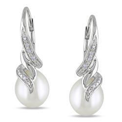 Miadora Sterling Silver Pearl and Diamond Accent Earrings (9-9.5 mm)
