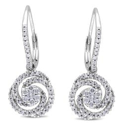 Miadora 10k White Gold 1/2ct TDW Diamond Earrings (G-H, I1-I2)