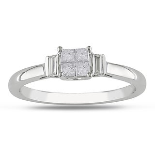 Miadora 10k White Gold 1/3ct TDW Princess Diamond Ring (H-I, I2-I3)