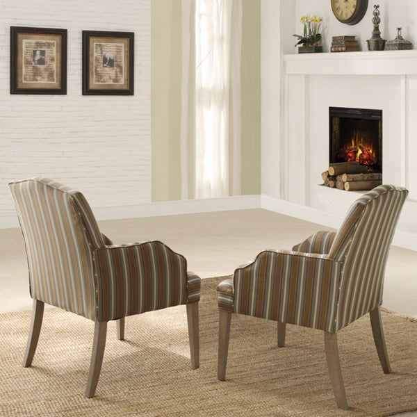 Kylie Upholstered Striped Pattern Fabric Arm Chair (Set of 2)