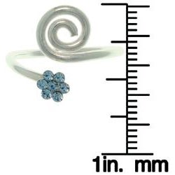 CGC Sterling Silver Blue Crystal Flower Swirl Ring