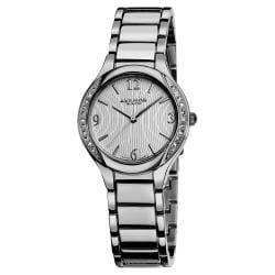 Akribos XXIV Women's Swiss Quartz Stainless Steel Silver-Tone Crystal Watch