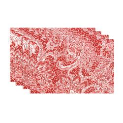 Mardi Gras Berry Red Floral Damask Placemats (Set of 4)