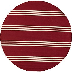 South Beach Indoor/Outdoor Red Stripes Rug (9' x 9' Round)