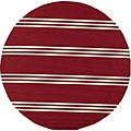 South Beach Red Stripes Indoor/ Outdoor Rug (9' x 9')