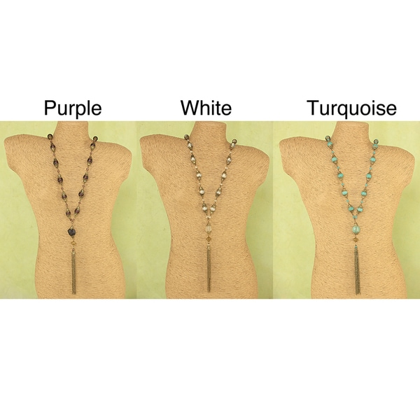 Handcrafted Long Antique Goldtone Glass Agate Tassel Necklace (India)