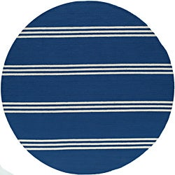 South Beach Blue Stripes Indoor/ Outdoor Rug (9 'x 9')