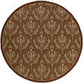 South Beach Brown Damask Indoor/ Outdoor Rug (9' x 9')