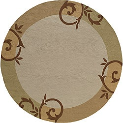 South Beach Beige Scroll Indoor/ Outdoor Rug (9' x 9')