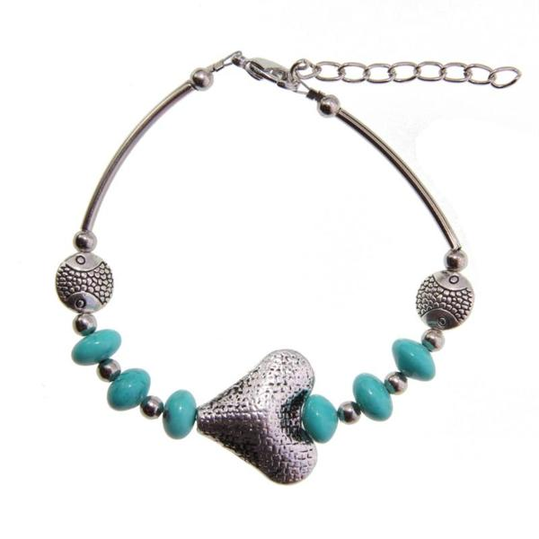 Turquoise Tibetan Silver Heart Bracelet (China)