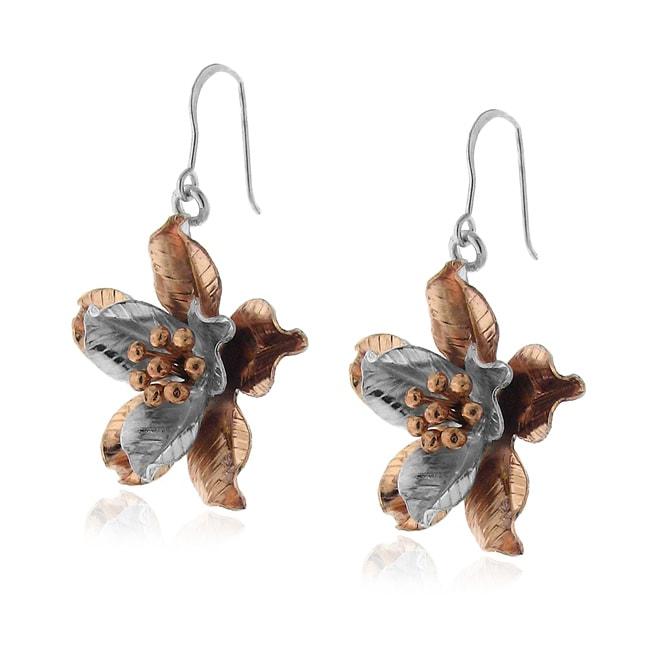 14k Rose Gold and Sterling Silver Flower Earrings