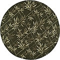 South Beach Green Leaves Indoor/ Outdoor Rug (9' x 9')