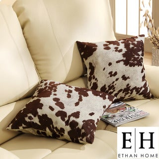 ETHAN HOME Decor Cow Hide Print Pillow (Set of 2)