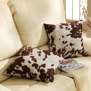 TRIBECCA HOME Decor Cow Hide Print Pillow Set of 2