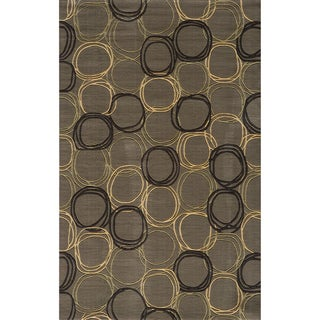 Soho Circles Grey Wool Rug (9'6 x 13'6)