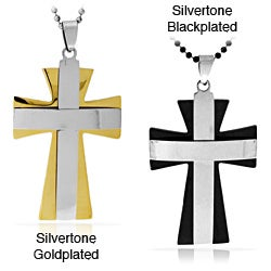 Stainless Steel Two-tone Layer Cross Necklace