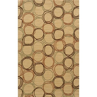 Soho Circles Gold Wool Rug (5' x 8')