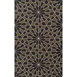 Soho Mosaic Power-Loomed Charcoal Wool Rug (9'6 x 13'6)