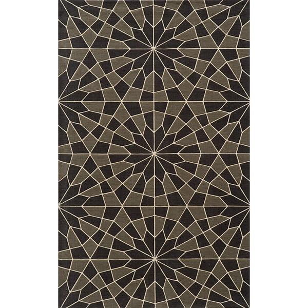 Soho Mosaic Power-Loomed Charcoal Wool Rug (8'0 x 11')