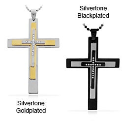 Stainless Steel Two-tone Triple Layer Cross Necklace